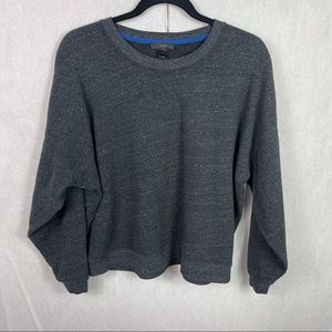 J Crew Charcoal Gray Cropped Sweatshirt Sweater XL